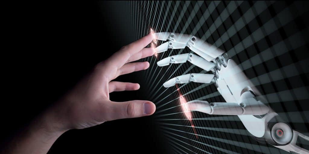 human fingers touching robot fingers