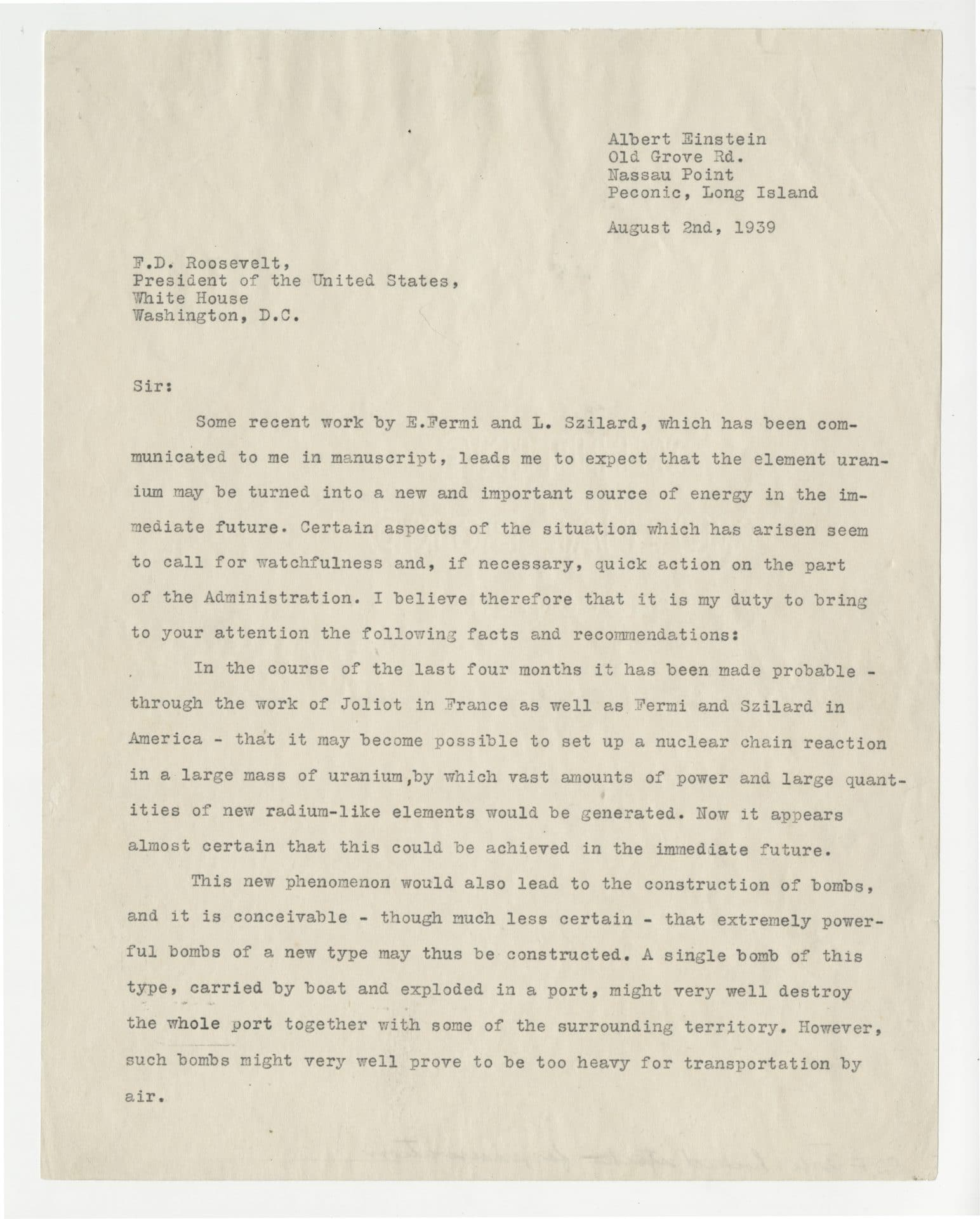Page one of the Einstein–Szilárd letter to U.S. President Franklin D. Roosevelt in 1939.