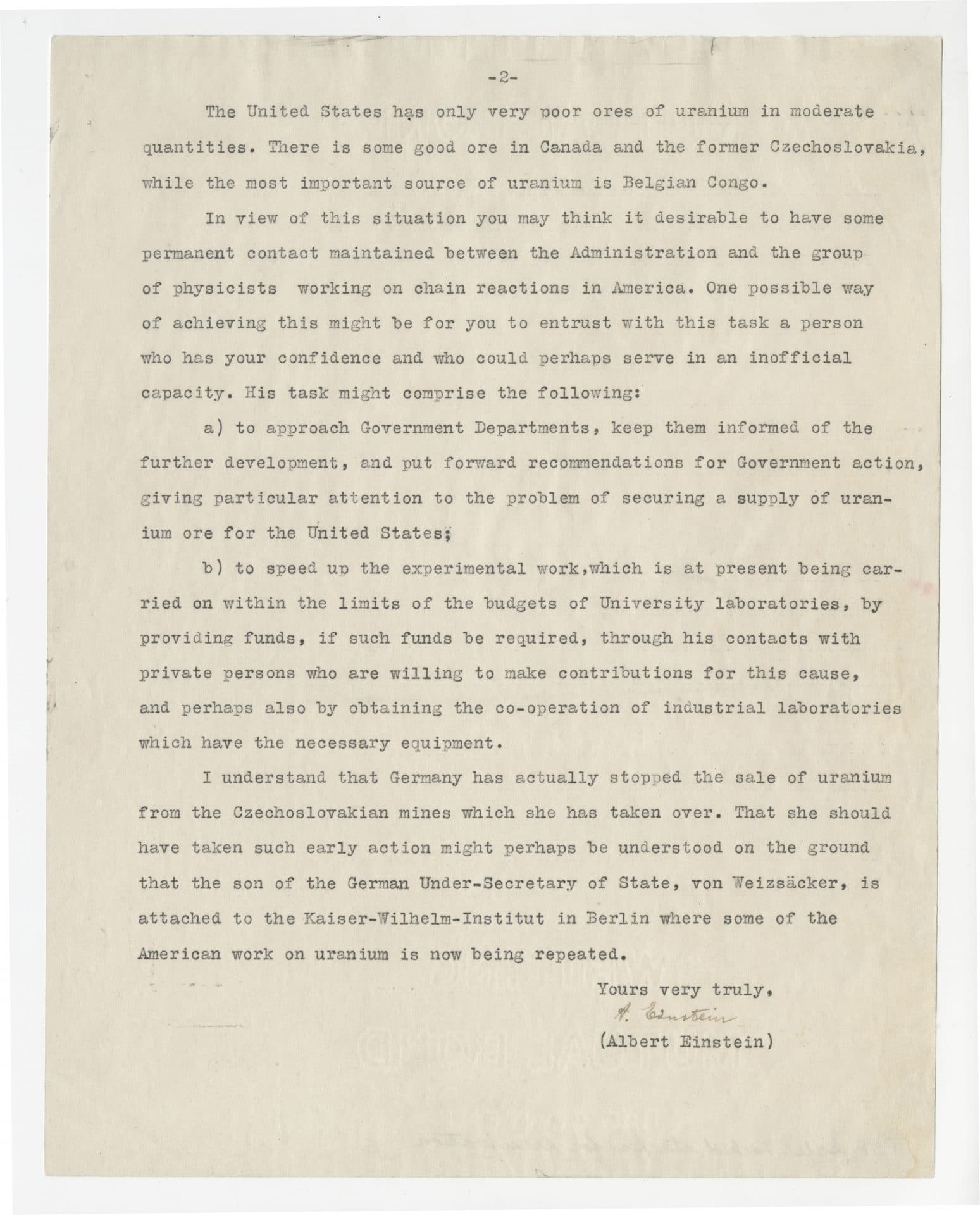 Page two of the Einstein–Szilárd letter to U.S. President Franklin D. Roosevelt in 1939.