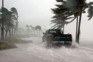 truck driving through high water in Florida storm