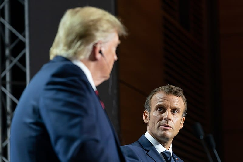 Emmanuel Macron with Donald Trump at the G7 summit in August 2019