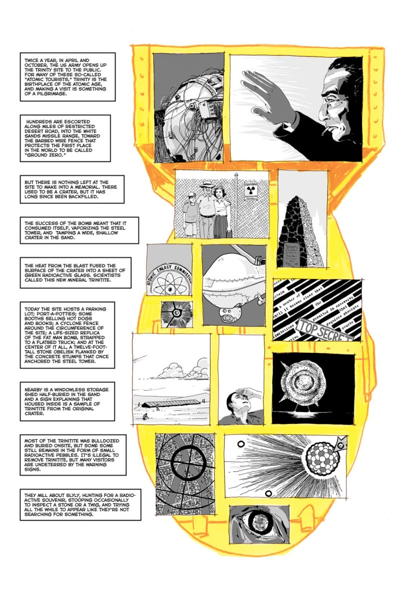 "An interior page from ""Trinity: A Graphic History of the First Atomic Bomb """