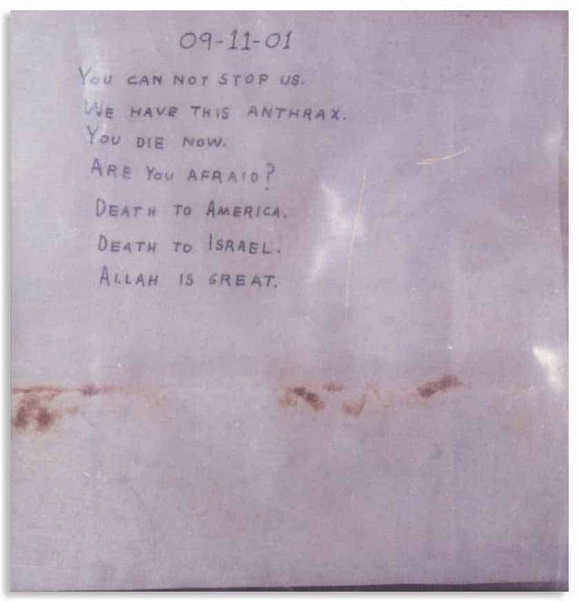 A letter that had been laced with anthrax during the Amerithrax attacks.