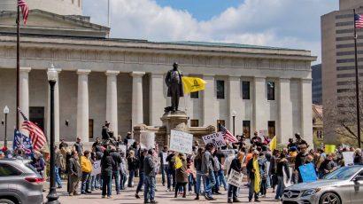 Protests rally against Ohio's anti-coronavirus measures.