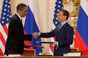 Presidents Obama and Medvedev sign New START in 2010.