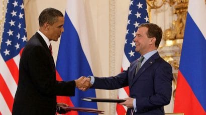 Presidents Obama and Medvedev sign New START in 2010.