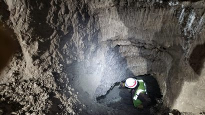 miner in permafrost tunnel in Alaska