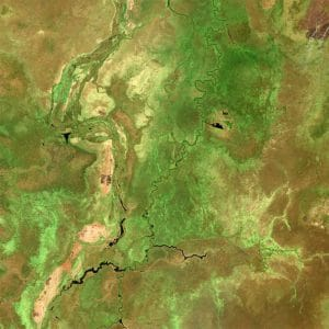 satellite view of wetlands of South Sudan