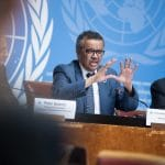 Tedros Adhanom Ghebreyesus at a press conference.