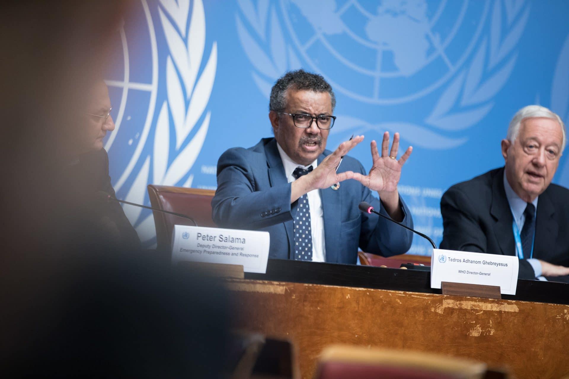 Tedros Adhanom Ghebreyesus at a press conference.