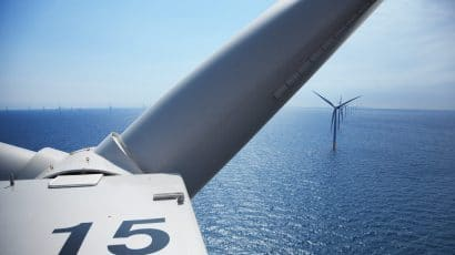 offshore windfarm seen from top of wind turbine