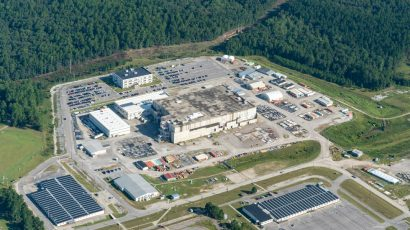 The troubled Mixed-oxide Fuel Fabrication Facility project at the Savannah River Site is proposed to be transformed into a plutonium pit production facility. Photo (c) Timothy Mousseau, 2019.
