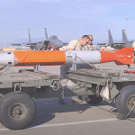 A test version of the new B61-12 guided nuclear bomb to be deployed in Europe as part of a modernization program. Photo from a video by Air Force Staff Sgt. Cody Griffith.