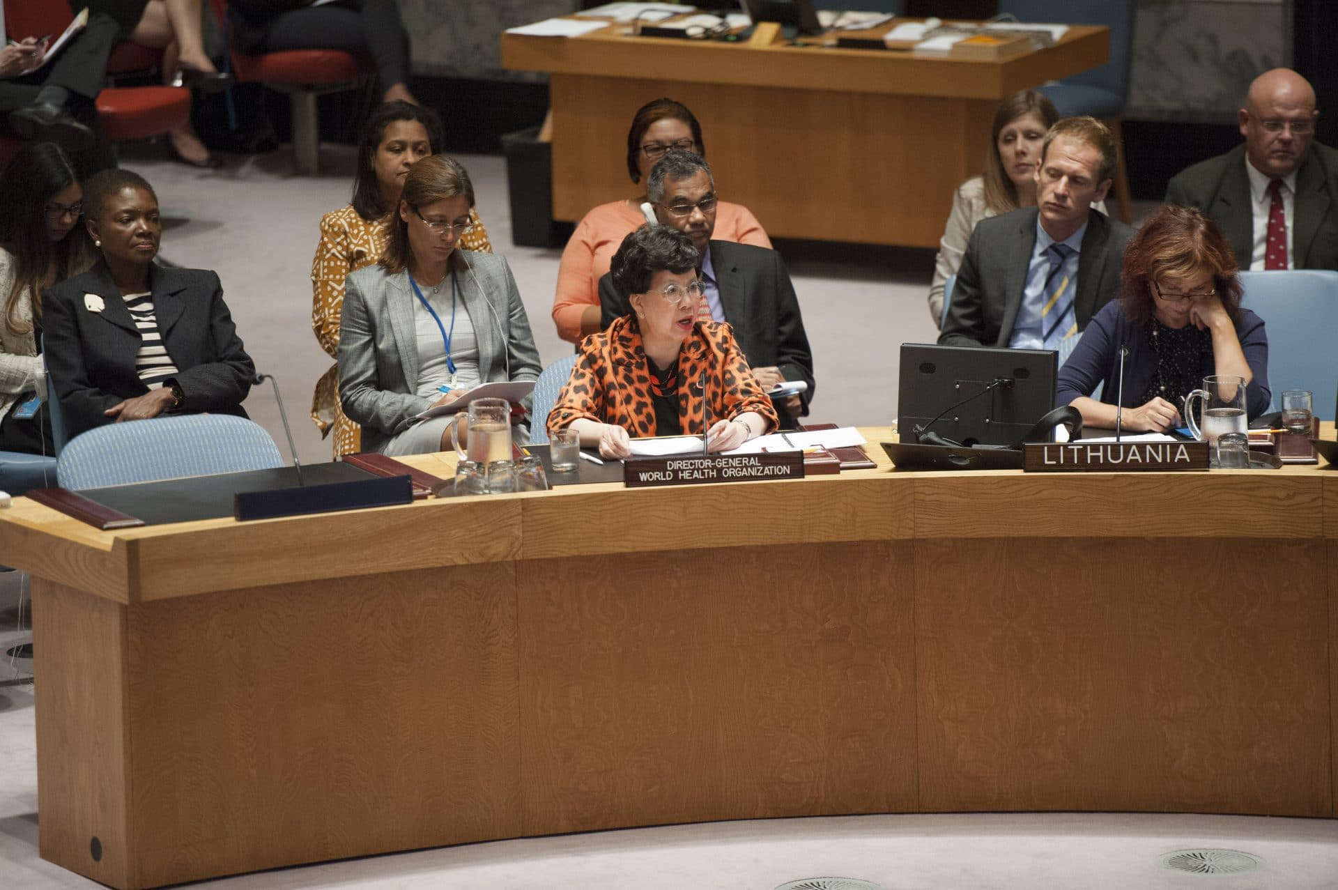 "On September 18, 2014, Margaret Chan became the first WHO Director-General to address the UN Security Council for its consideration of the Ebola epidemic, which she described as ""the greatest peacetime challenge that the United Nations and its agencies have ever faced."" (UN Photo/Cia Pak)"