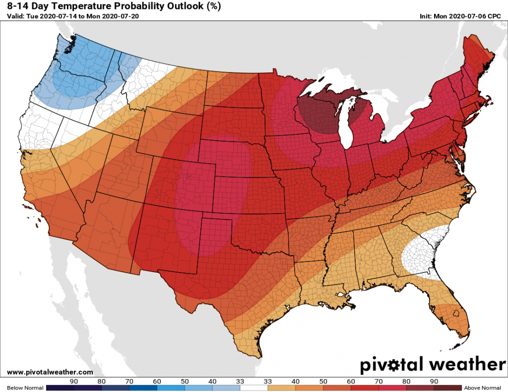 US lower 48 temperature forecast July 14-20 2020