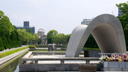 The Memorial Cenotaph at Hiroshima Peace Memorial Park, 2012.