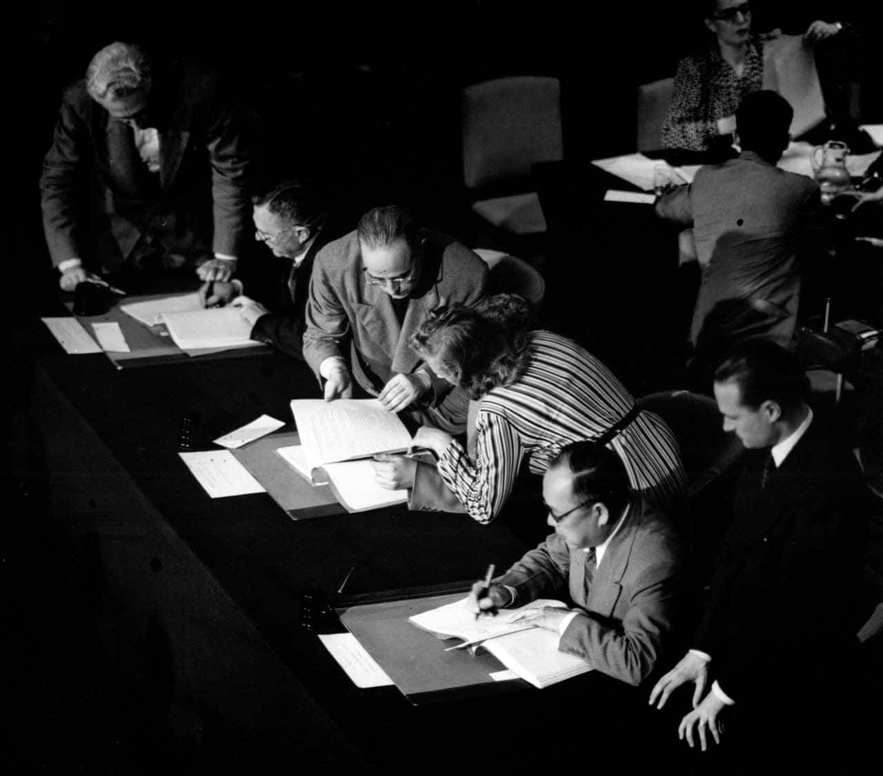 Country delegates signed global health agreements, including the WHO constitution, at the International Health Conference held in New York in June and July 1946. (WHO/UN)