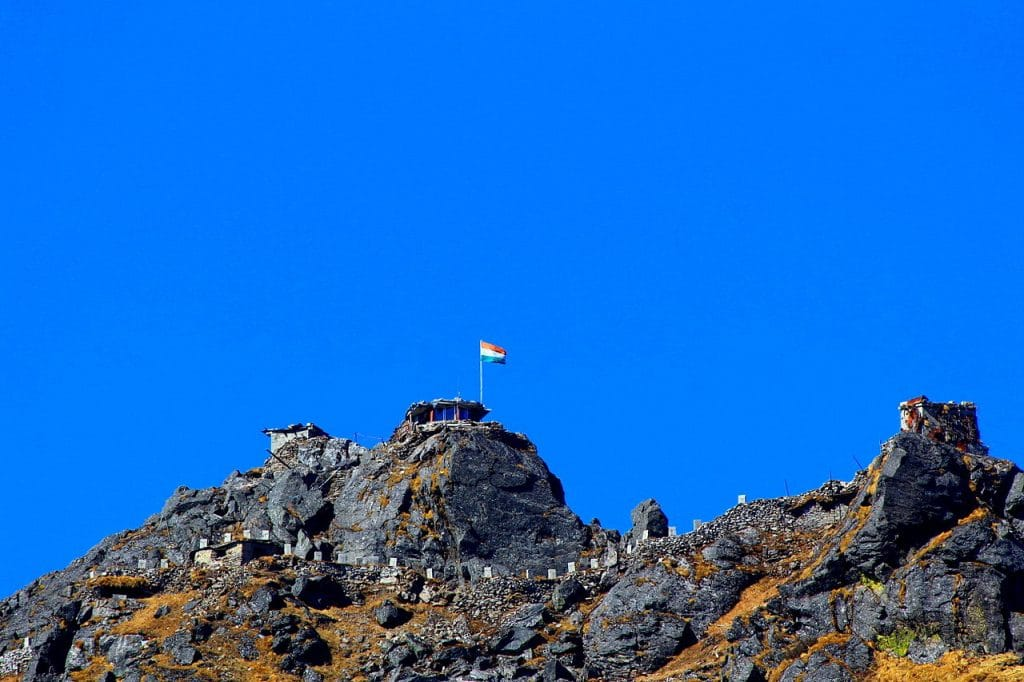An Indian border outpost at Nathu La, in Sikkim.