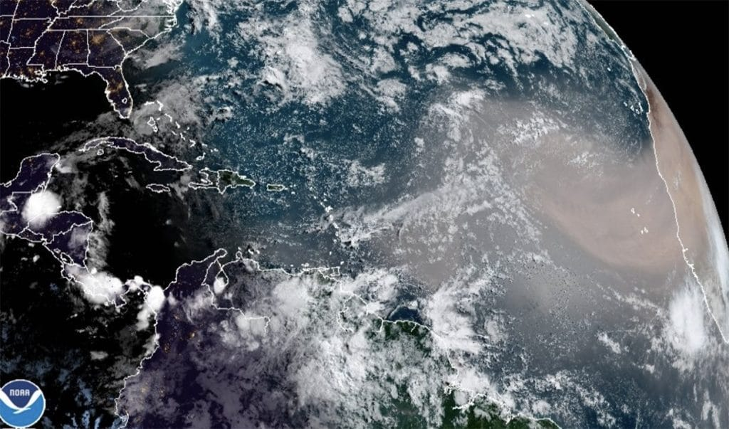dust cloud seen from space satellite
