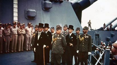 Japanese military leaders aboard the USS Missouri