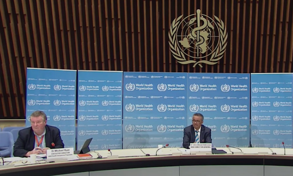 Director of the WHO Health Emergencies Programme, Michael Ryan, and WHO Director-General Tedros Adhanom Ghebreyesus at a live-streamed COVID-19 briefing on May 6, 2020. (WHO/YouTube)