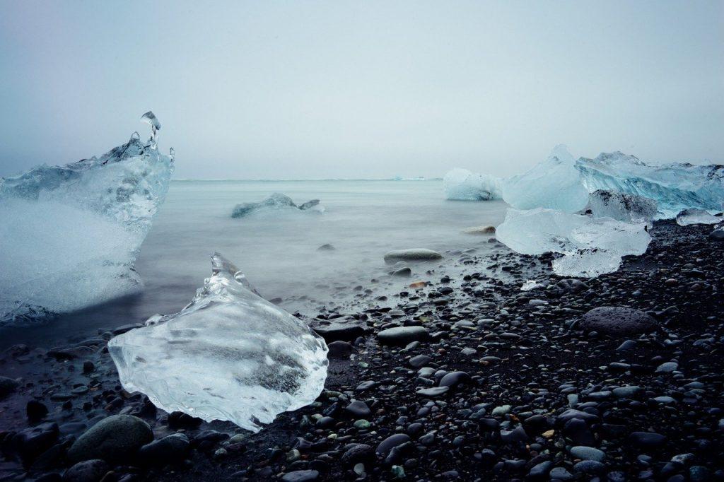 ice melting on shore