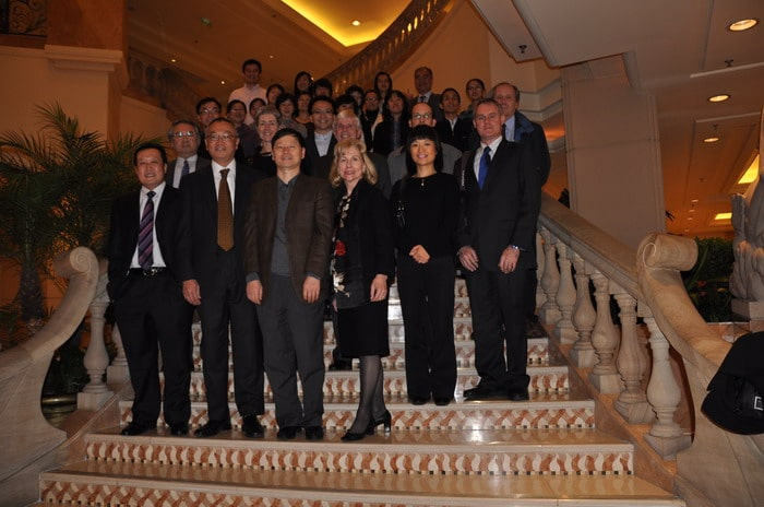 Nancy Cox (front row, right) and other WHO collaborating center directors met with Chinese officials in November 2009 to establish a fifth collaborating center in Beijing. (Chinese Center for Disease Control and Prevention)