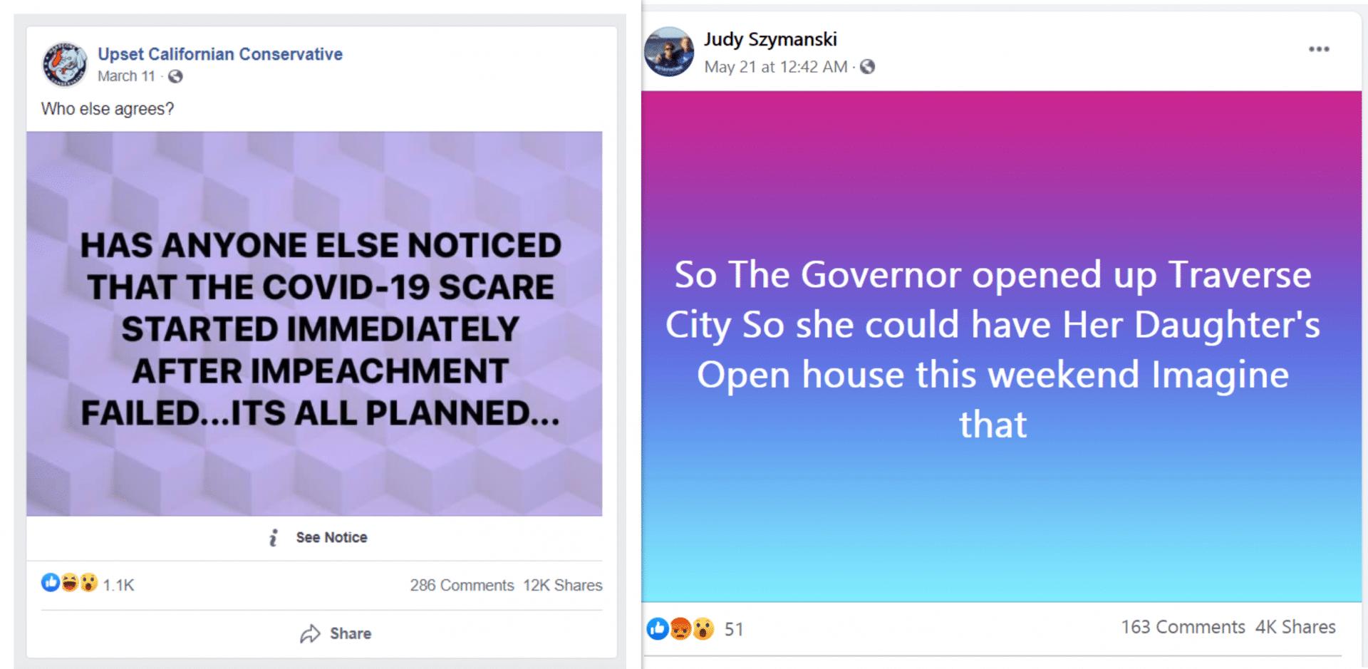 False facebook posts.
