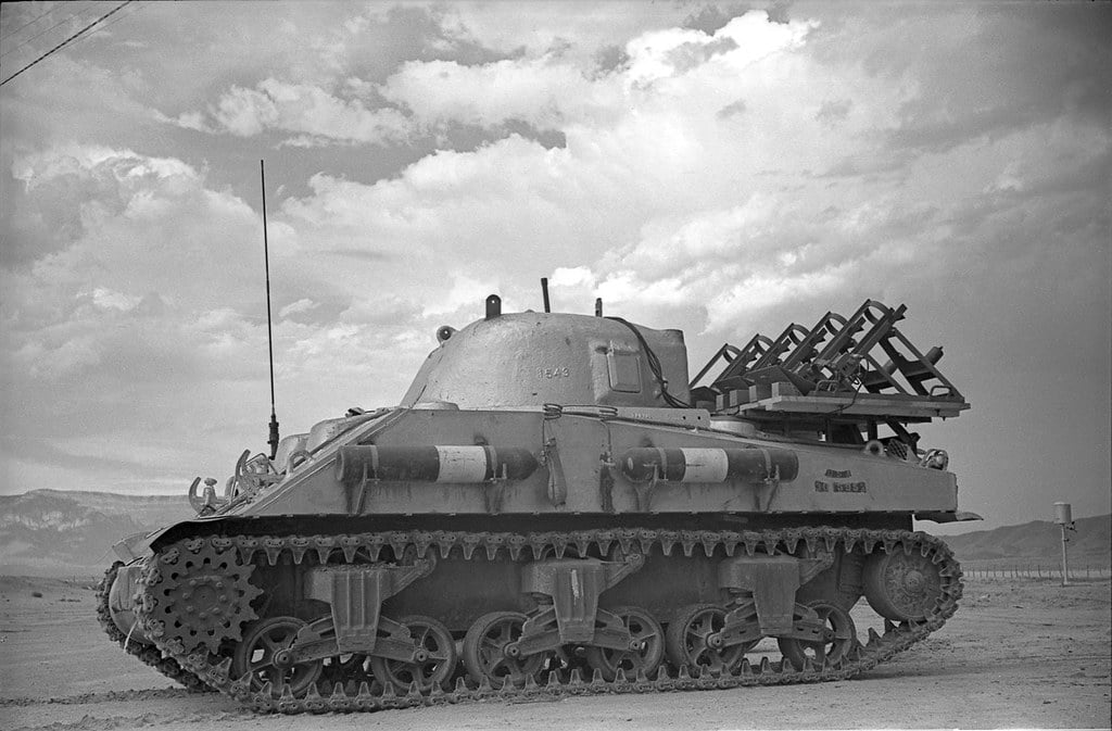 Lead-lined Sherman M-4 Tank used to collect samples after the Trinity shot.