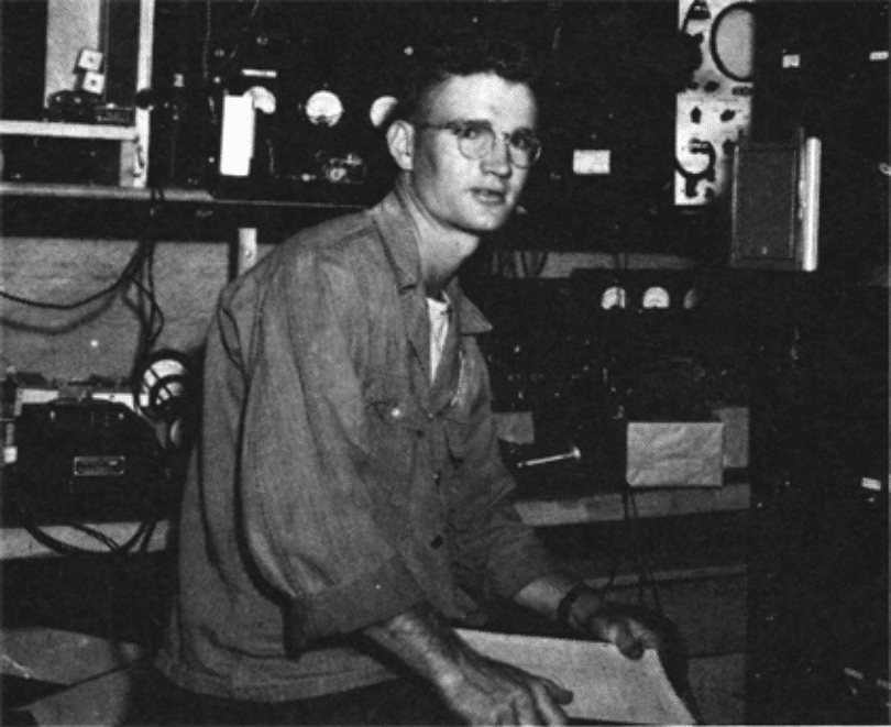 Val Fitch in 1945, then an enlisted soldier in the Special Engineering Detachment at Los Alamos.
