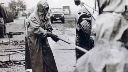 A Soviet military reservist helps with the decontamination effort after the Chernobyl accident.