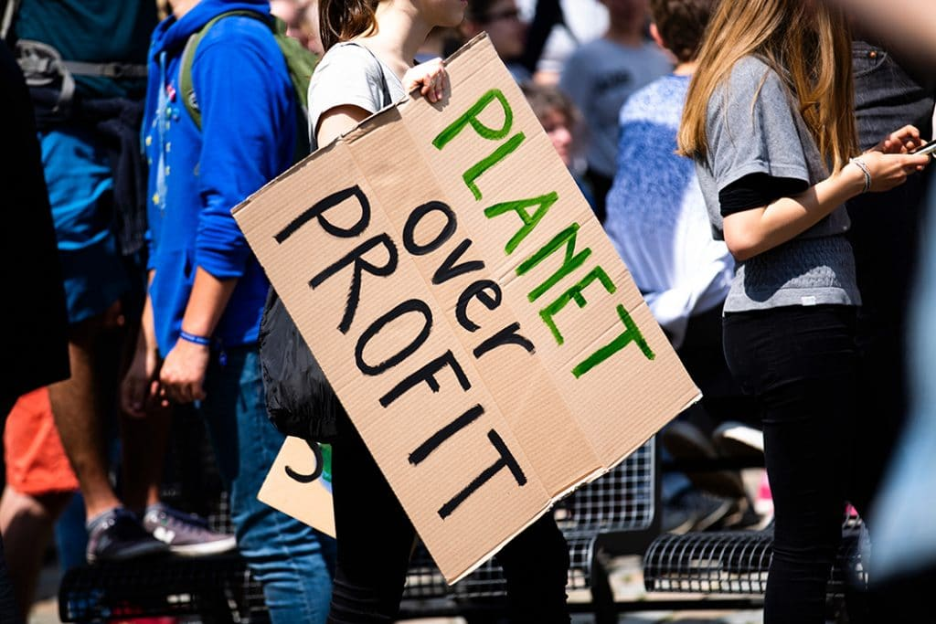 climate activist protest sign