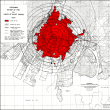 Hiroshima blast and fire damage, US Strategic Bombing Survey map.
