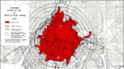 Hiroshima blast and fire damage, US Strategic Bombing Survey map.