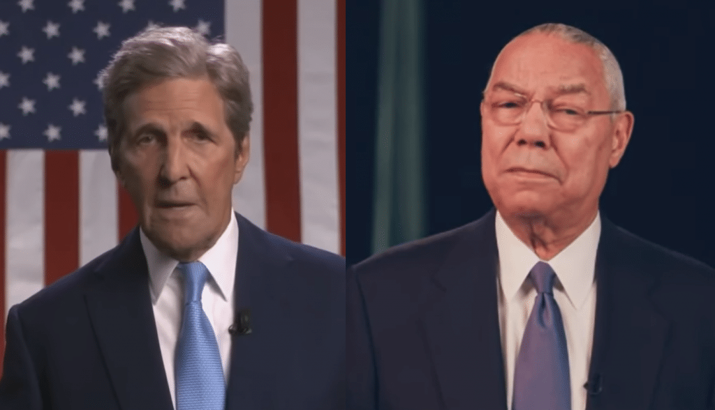Former secretaries of state John Kerry and Colin Powell
