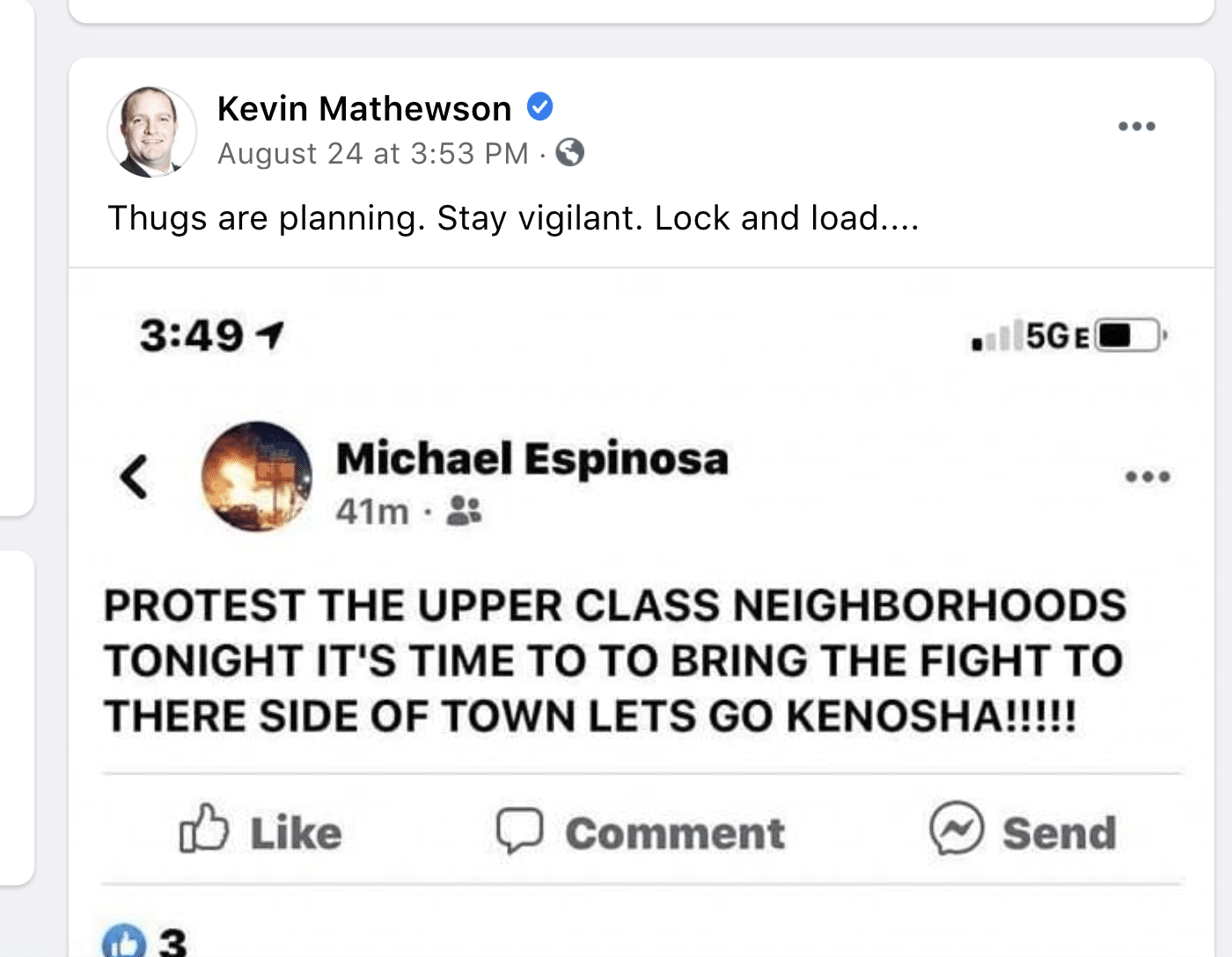 A screenshot from Kevin Mathewson's Facebook page.