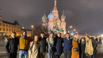 Young professionals on a night out in Red Square (left to right): Elliot Serbin, Center for International Security and Cooperation (CISAC), Stanford University; Maxime Polleri, CISAC, Stanford, Elizaveta Likhacheva, Moscow Engineering Physics Institute (MEPhI); William Heerdt, Monterey Institute for International Studies; Anna Kudriavtseva, MEPhI; Daine Danielson, University of Chicago; James McKeon, Nuclear Threat Initiative; Ksenia Pirnavskaya, MEPhI; Gabriela Levikow, CISAC, Stanford; and Katie McKinney, CISAC, Stanford.
