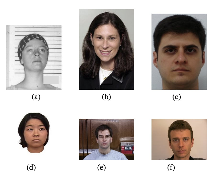 Photos that could be used to train an algorithm to predict criminality from faces.