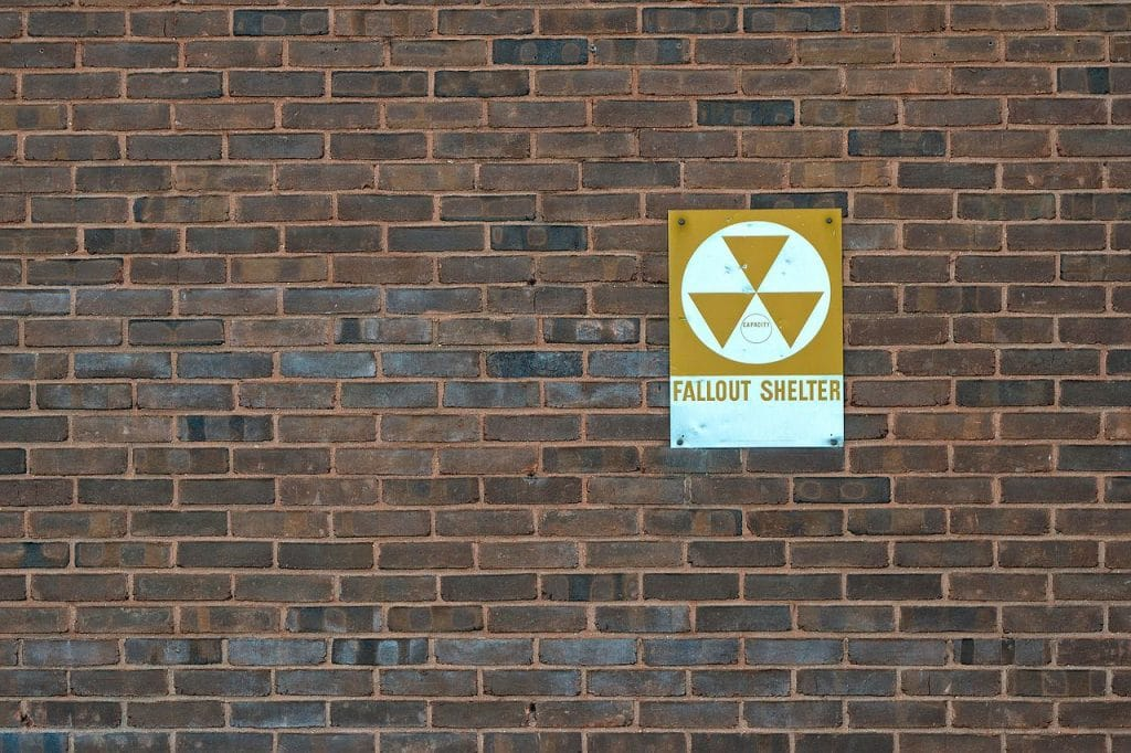 The brick wall of a fallout shelter