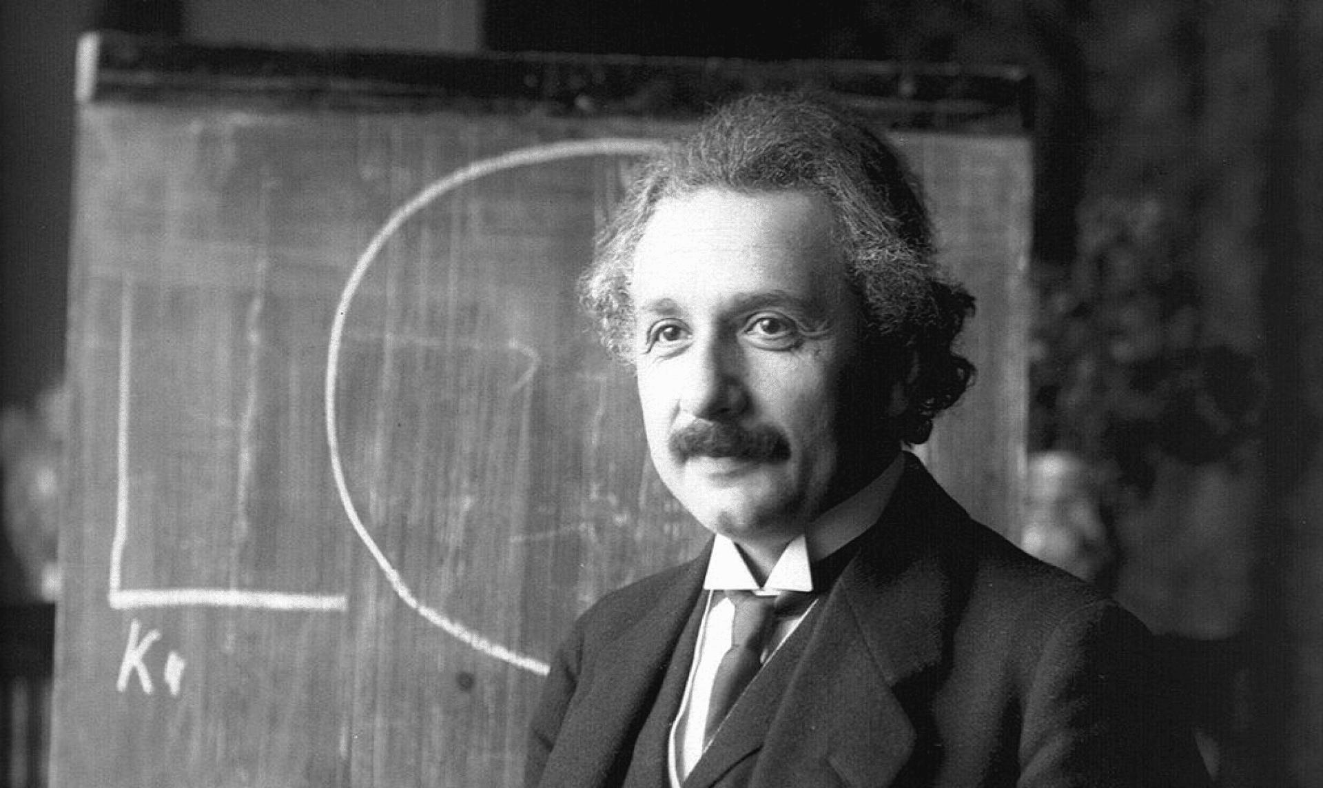 Albert Einstein during a lecture in Vienna in 1921, photo by Ferdinand Schmutzer. Public domain.