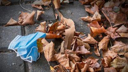 coronavirus covid-19 mask autumn leaves