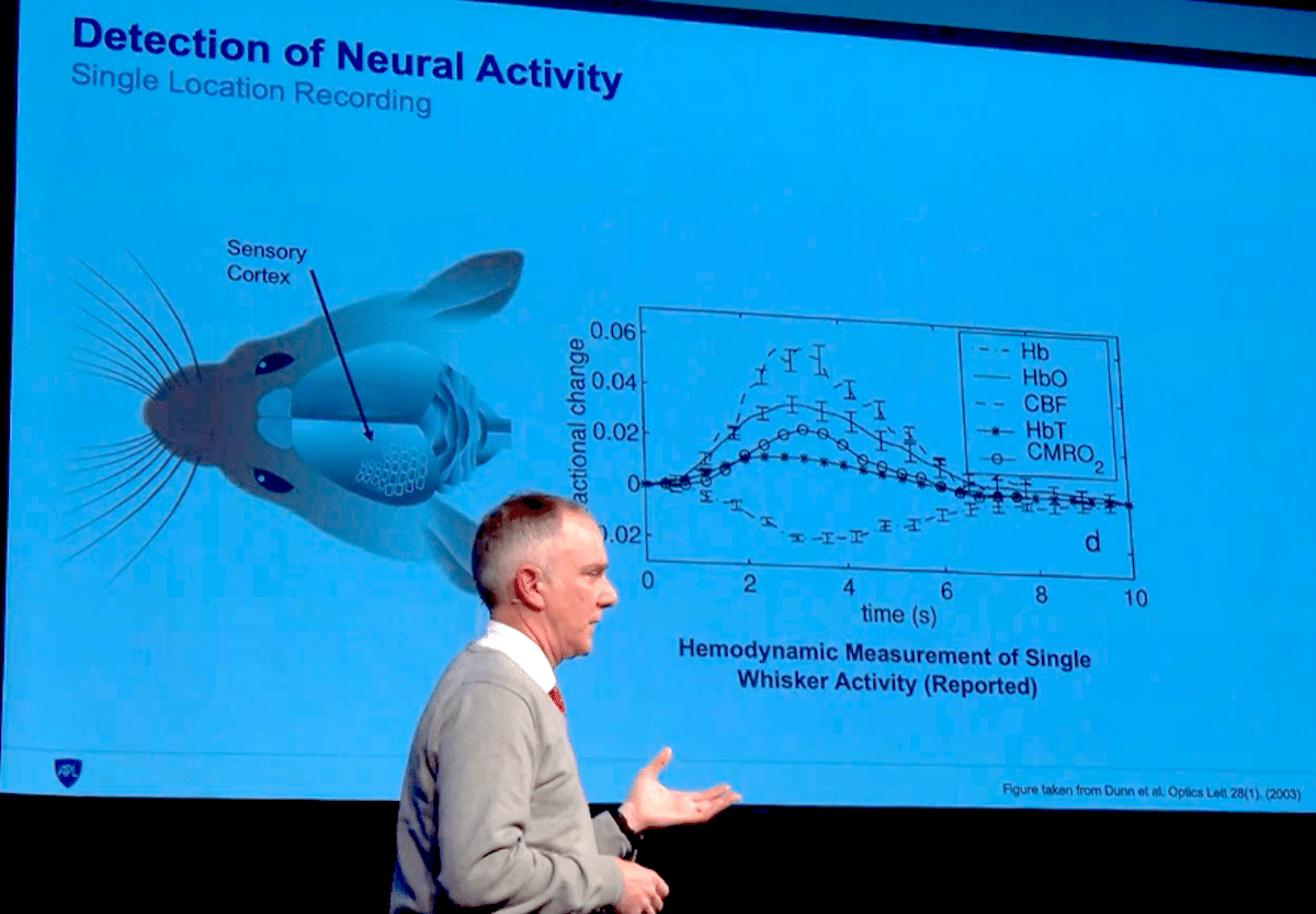 "Applied Physics Laboratory chief scientist David Blodgett explains his research on optical sensing of neural activity at an MIT event in December 2019. (Video still via <a href=""https://events.technologyreview.com/video/watch/david-blodgett-brain-computer-interfaces/"">MIT Technology Review</a>)"