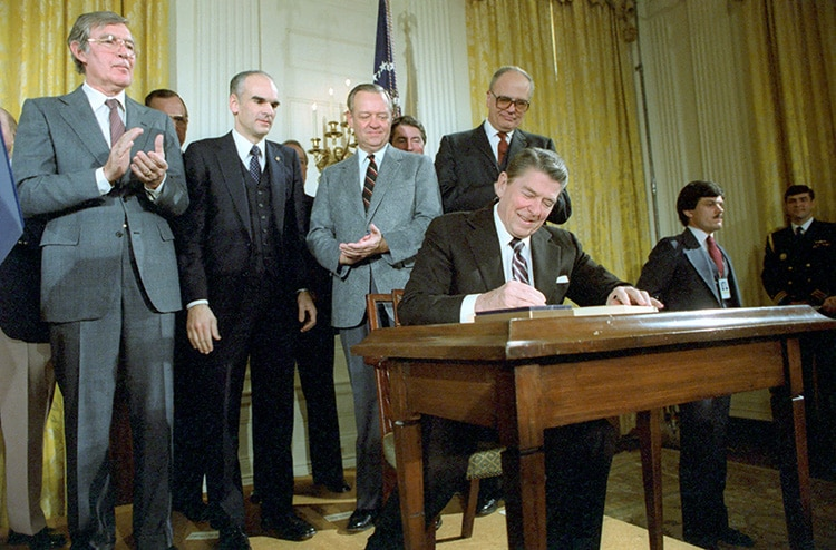 President Ronald Reagan at a signing ceremony for the Nuclear Waste Policy Act of 1982
