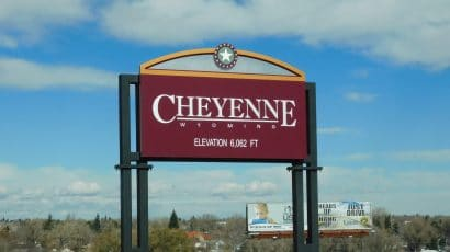 A sign showing Cheyenne, Wyoming city limits