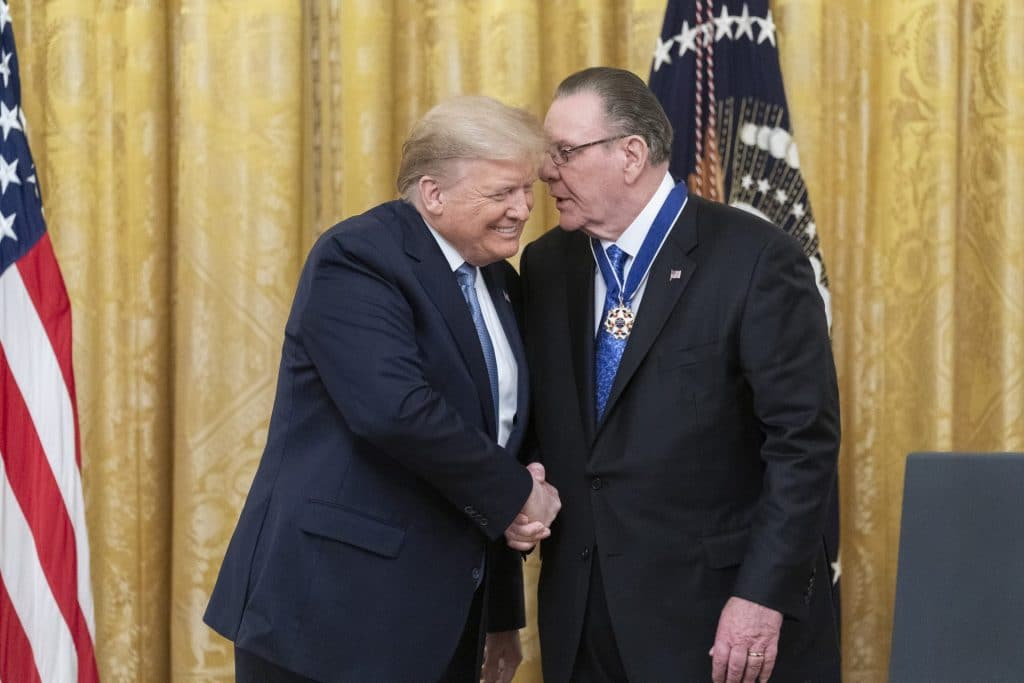 President Trump shakes hands after presenting the Presidential Medal of Freedom to retired four-star US Army General Jack Keane on March 10, 2020.