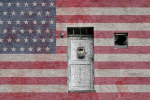 Painting of American flag on wall exterior