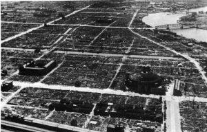Tokyo flattened by firebombing 1945