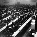 The first meeting of the United Nations General Assembly, January 1946, London.