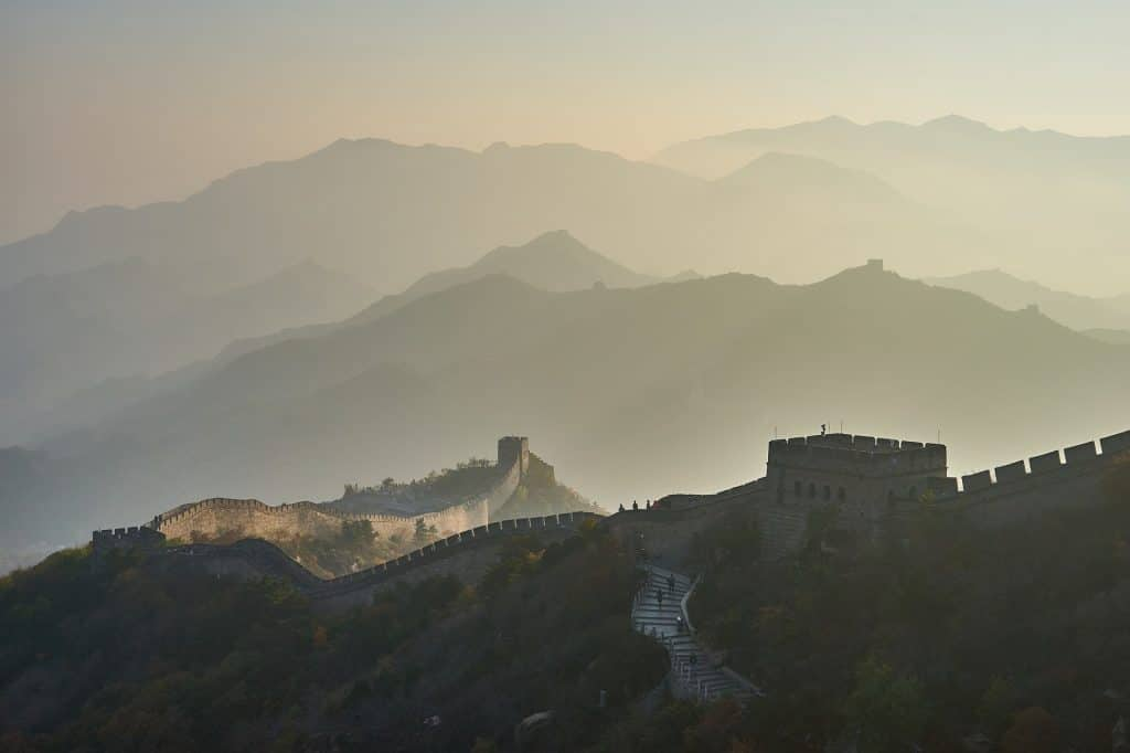Great Wall of China, partial silhouette
