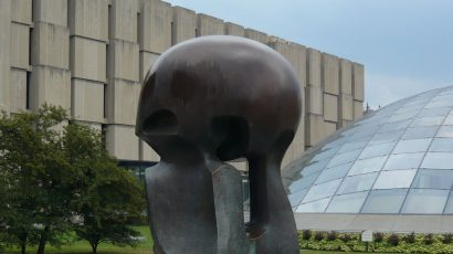 """Henry Moore's """"Nuclear Energy"""" sculpture at the University of Chicago."""